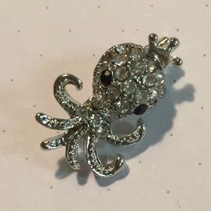 """Tiny 0.75"""" faux crystal encrusted squid pin silver"""